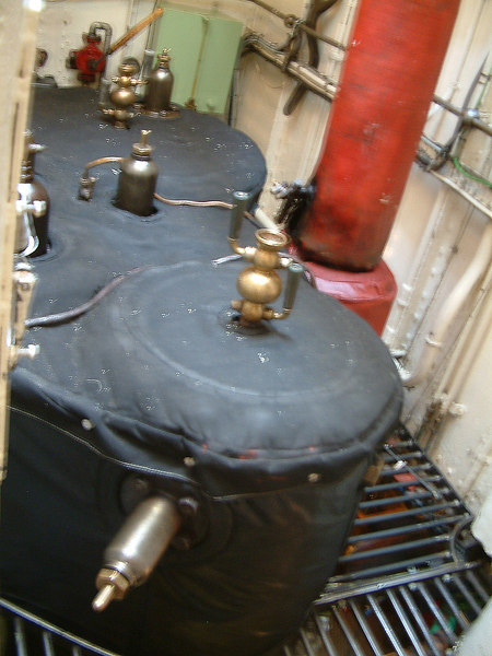 Top of cylinders of the compound reciprocating steam engine of SS Norrskar