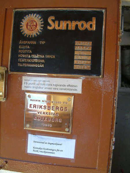Boiler and engine builders plates of SS Norrskar