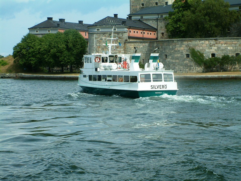 MV Silvero, Vanholm excursion ferry, passing Vaxholm Castle, 28 07 2006