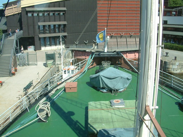 Icebreaker SS Sankt Erik, view forward from the bridge, 30 07 2006.