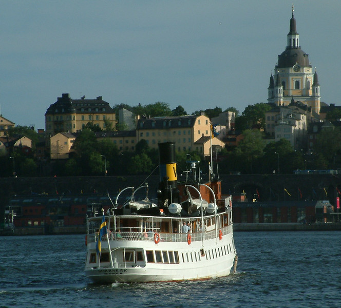 SS Norrskar leaving Strömkajen in Stockholm on an evening cruise