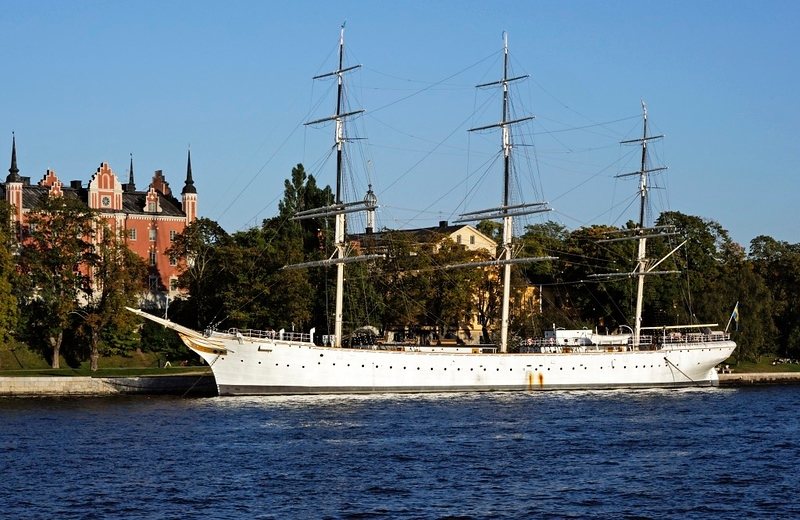 """af Chapman, Stockholm, Sun 7 September 2014.  This full rigged steel sailing ship was built in Whitehaven in 1888.  It was named Dunboyne, after the town in County Meath.  The Royal Swedish Navy bought the ship in 1923 and used it as a sail training ship before it became a barracks.  It is now a youth hostel.  Vice Admiral Fredrik Henrik af Chapman (1721 - 1808) was a Swedish shipbuilder of English descent.  He is considered to be the first naval architect.  He was ennobled as """"af Chapman"""" in 1772."""