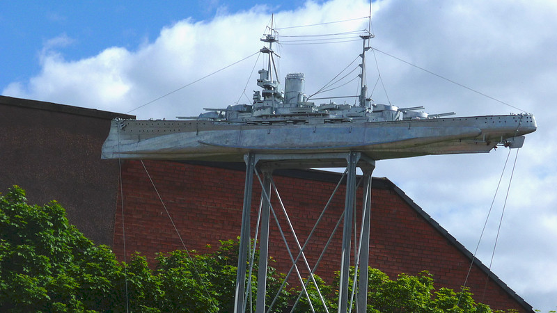 Another view of the huge model of HMS Ramillies  - probably one of the most unusual models of a Clyde built ship.