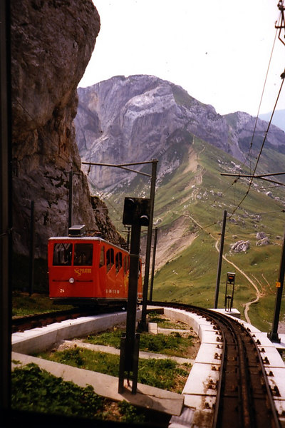 A train approaching Pilatus Kulm station on and earlier visit to Pilatus when the sky was clearer
