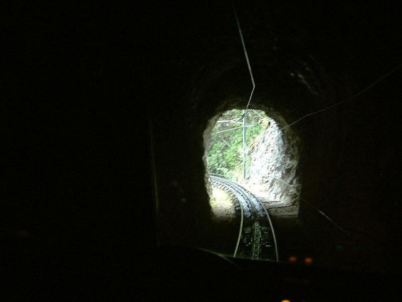 Into the first tunnel - looking back
