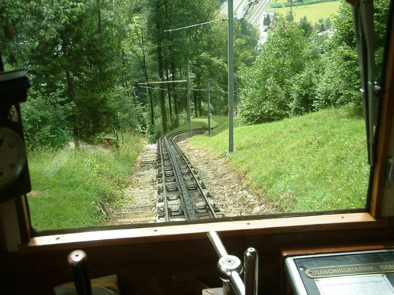 Ascending Pilatus - the world's steepest cogwheel railway - a gradiant of 48% or nearly 1 in 2.