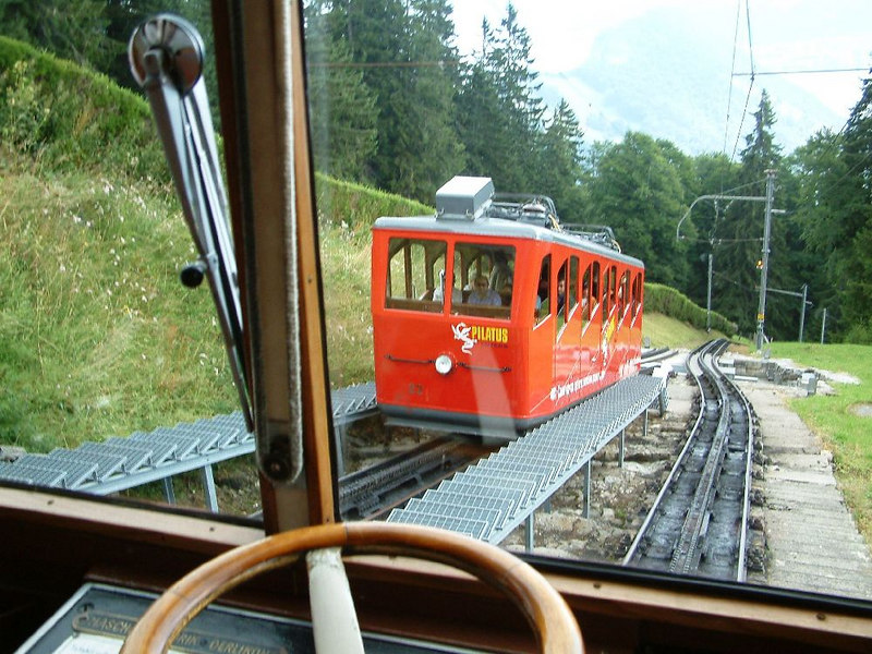 Passing a descending train