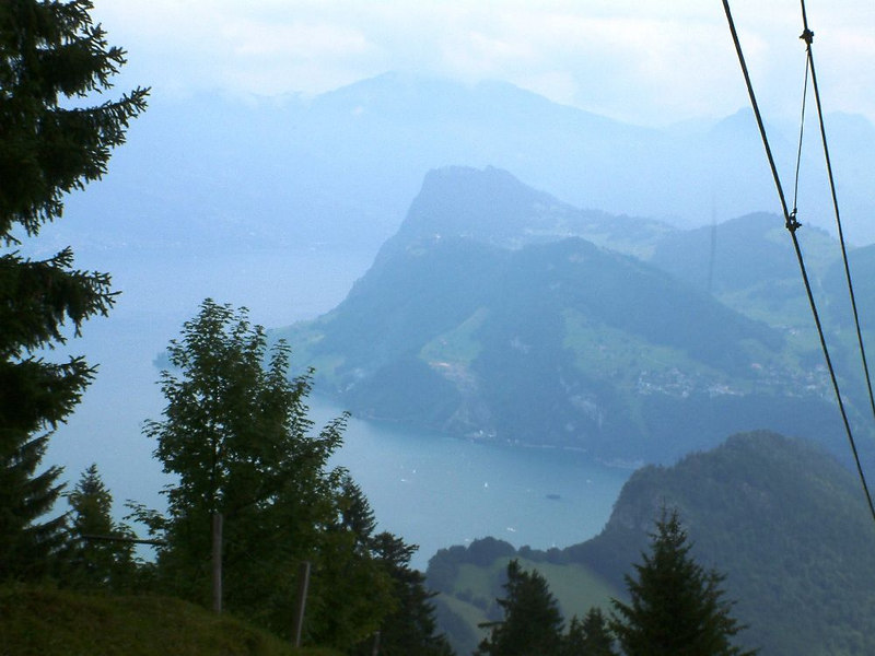 The Burgenstock (middle) and Mount Rigi (left, distance) from Mount Pilatus