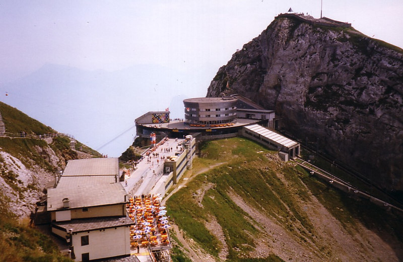 The hotel and station at the top of Pilatus