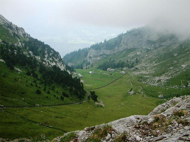 The Pilatusbahn stretching across a high meadow on Mount Pilatus