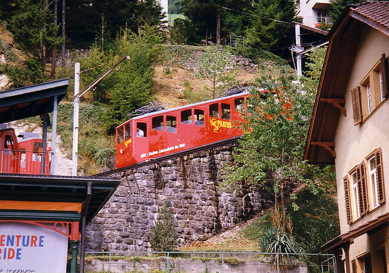 One of the single car trains of the Pilatusbahn, the steepest cogwheel (or rack) railway in the world