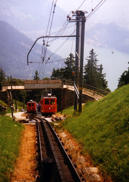 Looking back to the passing station with descending (left) and ascending trains