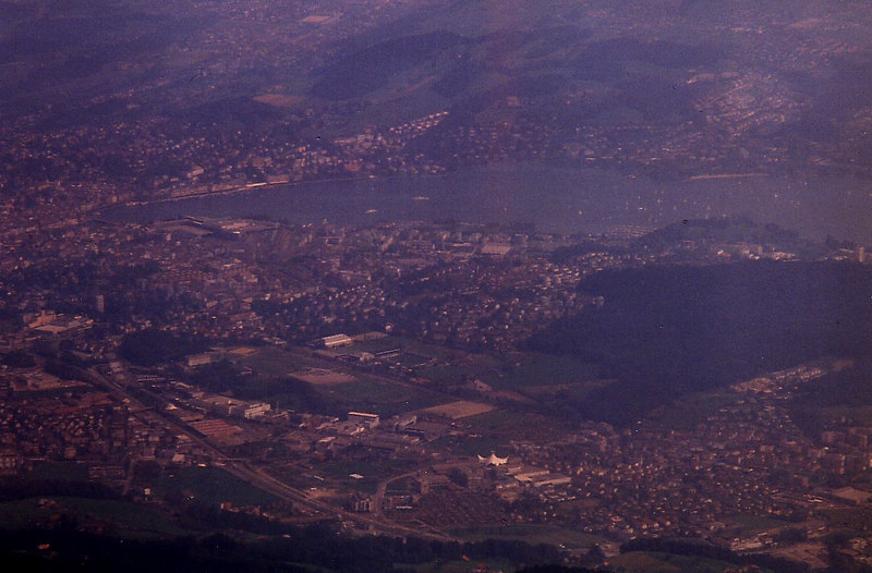 The city of Luzern and its lake (with paddle steamer Stadt Luzern crossing) viewed from the top of its mountain