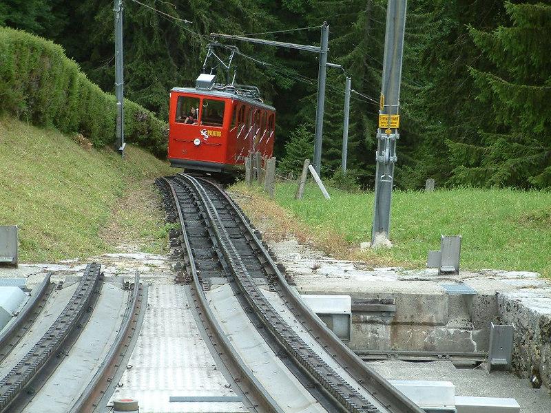 An ascending train approaching