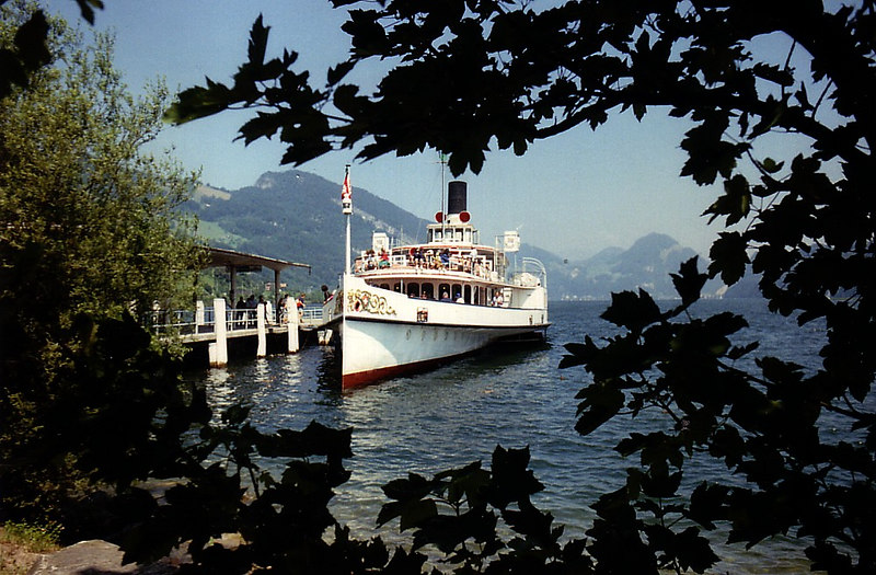 Back at Alpnachstad, paddle steamer Unterwalden awaits to convey Pilatus explorers back to Luzern.