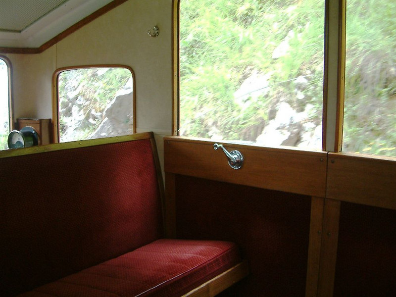 Interior of a Pilatusbahn carraige - seats and windows