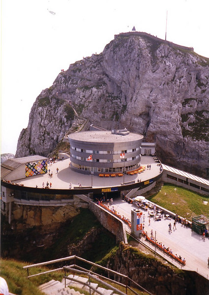 The Pilatusbahn and cablecar stations and visitor centre near he top of Pilatus. The cablecar runs from Kriens near Luzern, making at round trip via steamer, rack railway, cablecar and bus possible.