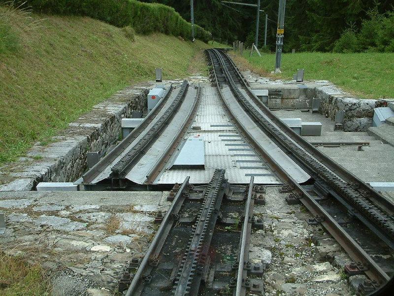 The sliding 'points' set for ascending trains