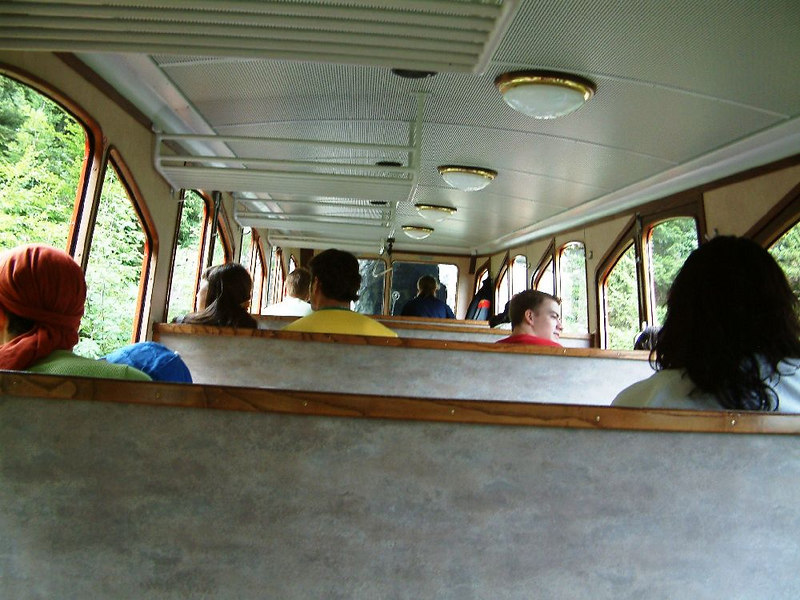 Inside a unique steeply angled Pilatus coach.