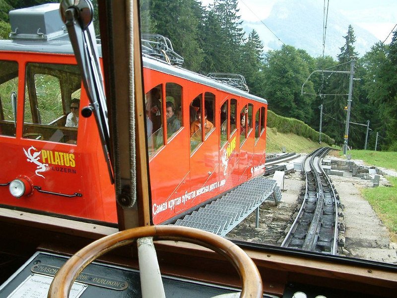 Passing a descending train about halfway up Pilatus on the only stretch of double track - apart from the end stations.