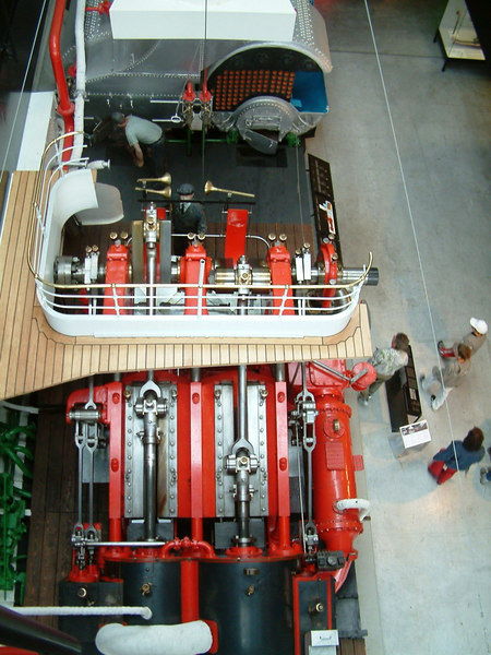 The compound engine and boilers preserved from paddle steamer Pilatus viewed from above