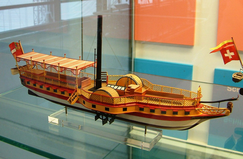 Model of Lake Leman paddle steamer Guilliame Tell, Switzerland's first steamship (1826-1836)