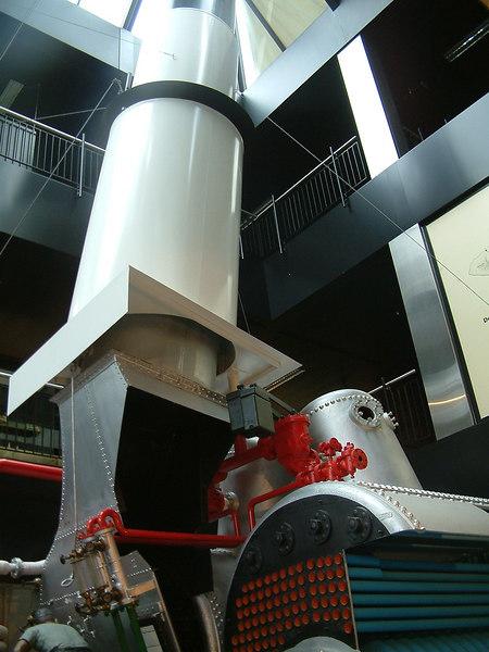 Arrangement of boiler flues entry to funnel