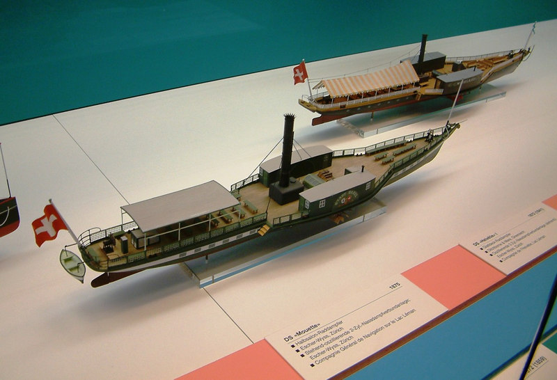 Model of paddle steamer Stadt Basel