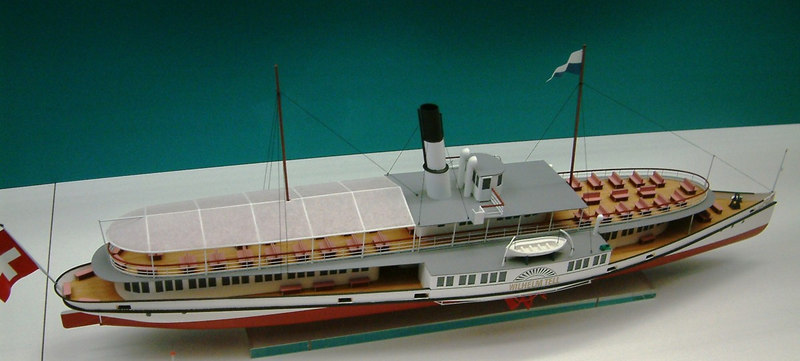 Model of the Lake Lucerne paddle steamer Wilhelm Tell (II) (1908 - still in existance as bar / restaurant)