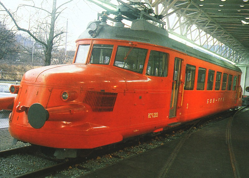 Electric Railcar 2 Bo type RCe 2/4 No 203 built in 1936. Became immensly popular for excursions - knoen as the 'Red Arrows'