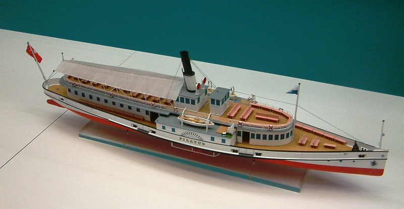 Model of the paddle steamer Pilatus.