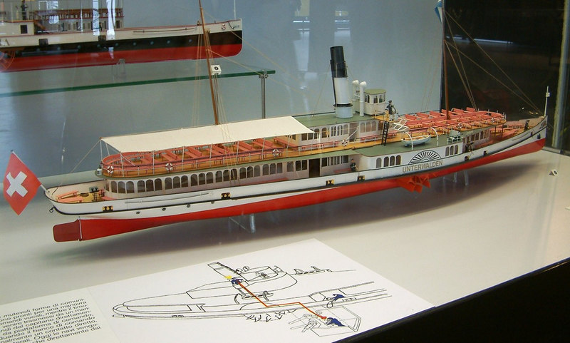 Model of Lake Lucerne paddle steamer Unterwalden (1903 - sill in service - with original boilers)