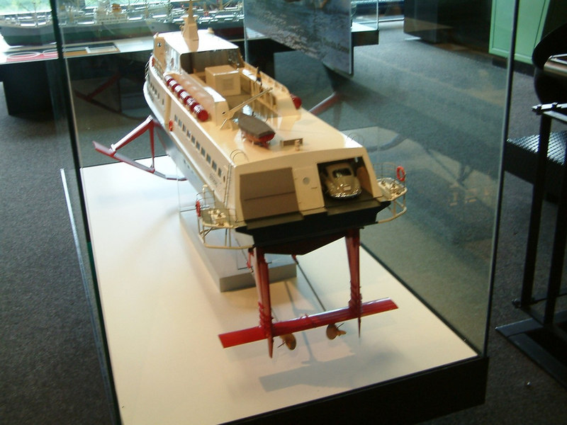 Model of a car-carrying hydrofoil for service across the Swiss lakes