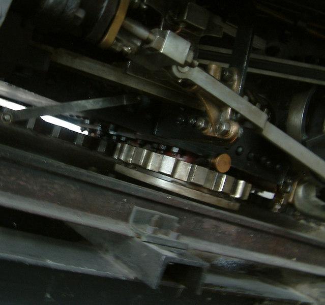 Locher's horizontal cogwheels on the Pilatus steam locomotive No 9