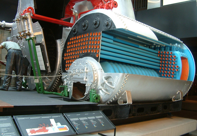 The two single-furnace, 2-pass Scotch boilers of paddle steamer Pilatus - one cuttaway to show internal arrangement