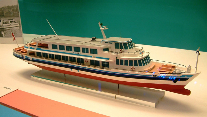 Model of the Lake Lucerne motor vessel Weggis, one of three sisters built in the early 1990s