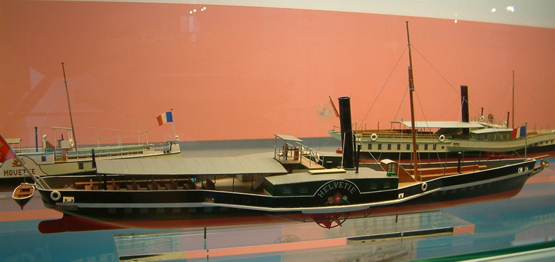 "Model of Lake Leman paddle steamer Helvetie (I) (1841 - 1918)<br /> <br /> See pictorial hustory at<br />  <a href=""http://www.simplonpc.co.uk/CGN1.html#anchor1021877"">http://www.simplonpc.co.uk/CGN1.html#anchor1021877</a>"