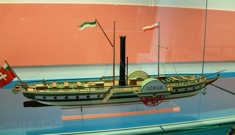 Model of Lake Leman paddle steamer Leman (1826-37). Engine by Boulton & Watt
