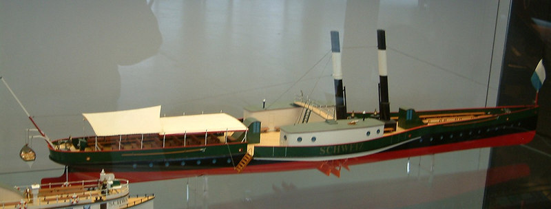 Model of paddle steamer Schweiz