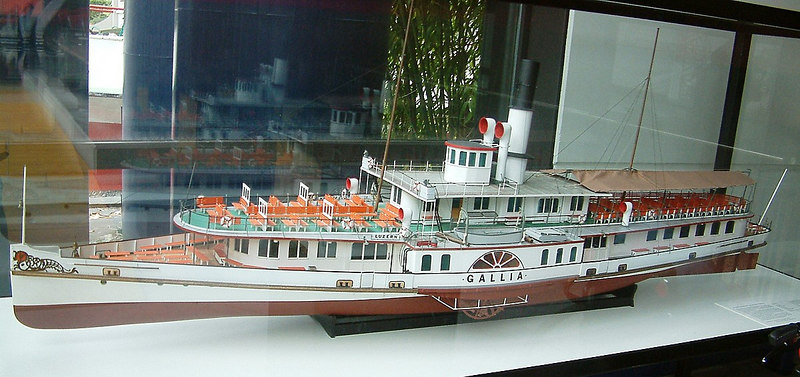 Model of Lake Lucerne paddle steamer Gallia (1913 - still in service)