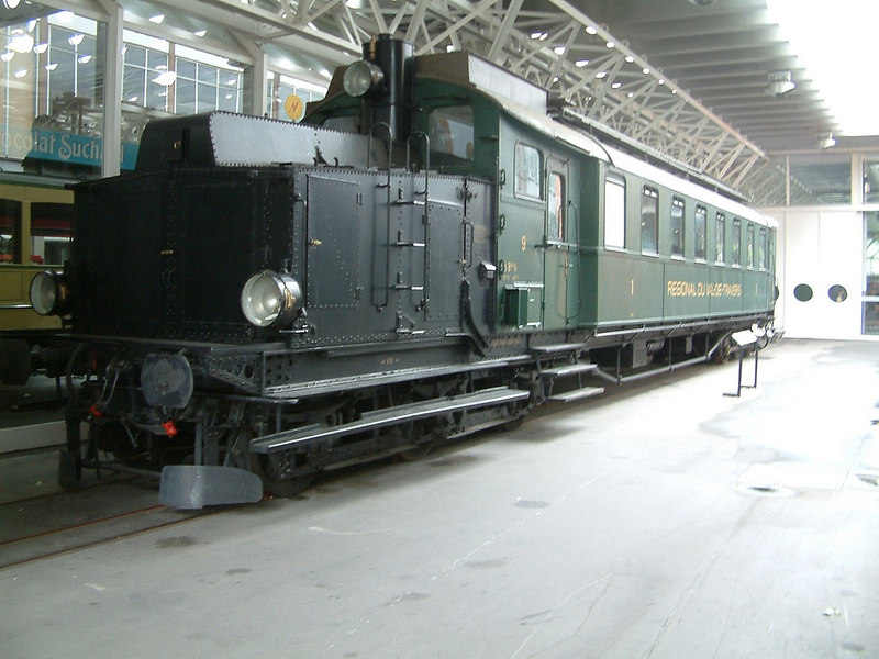 Diesel electric railcar ABm 2/5 No 9, built in 1914 for the Val de Travers regional railway. In operation from 1914 to 1965.