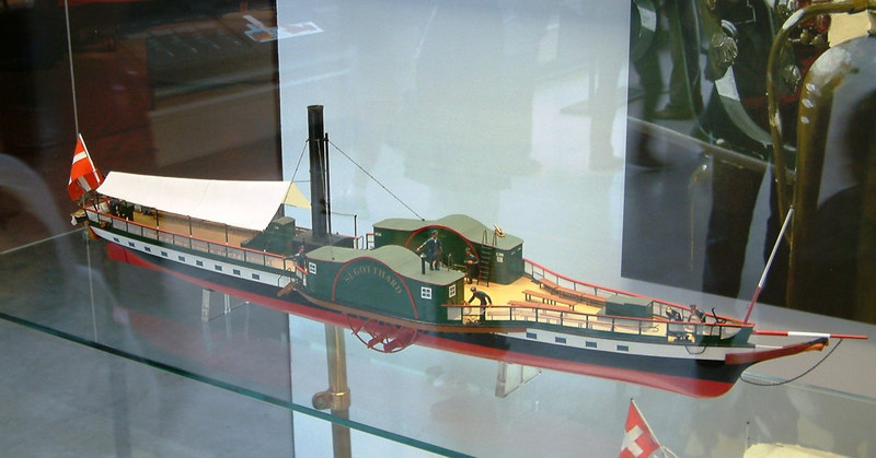 Model of Lake Lucerne paddle steamer St Gotthard (1843 - 1872 - hull remains in service