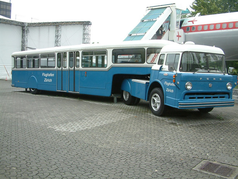 Articulated Ford coach formerly in service at Zurich Airport