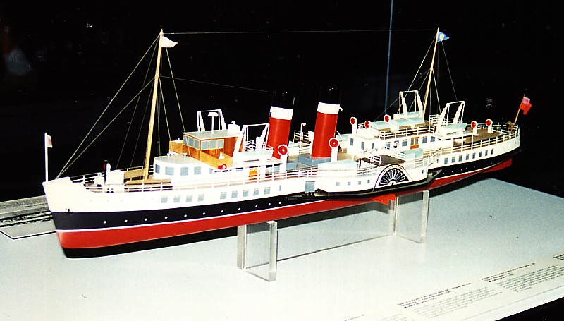 Model of Waverley, the World's Last Seagoing paddle steamer in the Swiss Transport Museum, Lucern