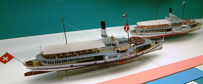 Models of the Lake Lucerne paddle steamers Uri (1901 - still in service) and Wilhelm Tell