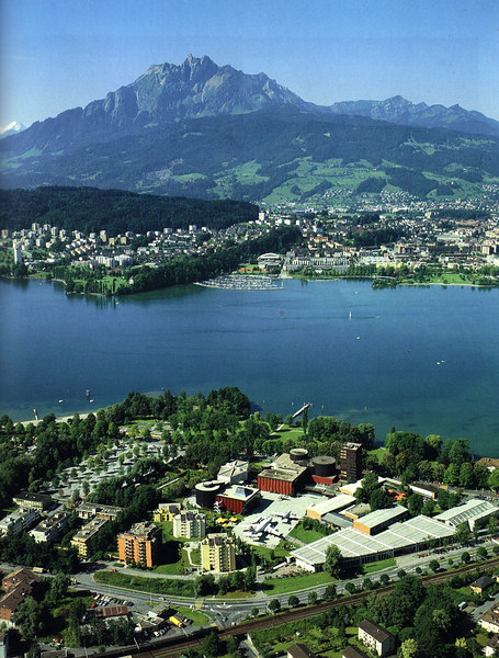 View over the Verkehrshaus (Swiss Transport Museum) at Luzern to Mount Pilatus - this pisture from thee Museum Guide Book