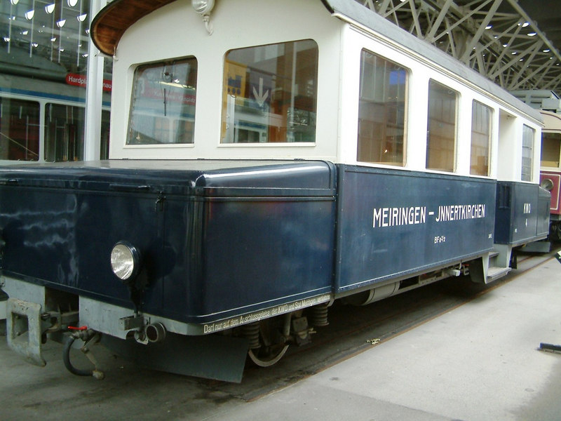 Battery Railbus BFa 2/2 No 4, the only barrery electric railway in Switzerland. Originally built to run between Meiringen and Jnnertkirchen in connection with the construction of a power plant at Oberhasli. This vehicle ran from 1939 to 1977