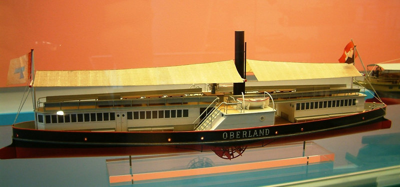 Model of Lake Brienz double ended paddle steamer Oberland (1870) - sister ship Brienz followed in 1871.