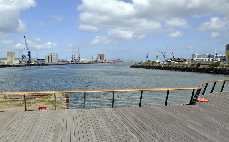 End of the slipway where Titanic was launched stern first into the River Lagan, Titanic Belfast, Tues 15 May 2012