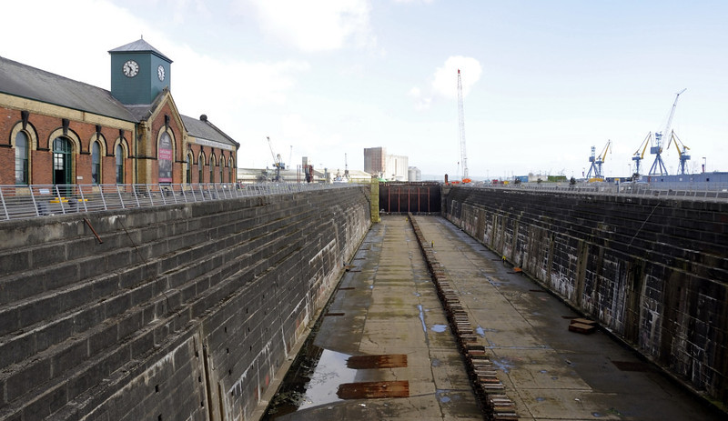 Thompson graving dock, Belfast, Tues 15 May 2012 1.  This was the largest dry dock in the world when completed in 1911.  Part of Titanic's fitting out was done here in 1912.